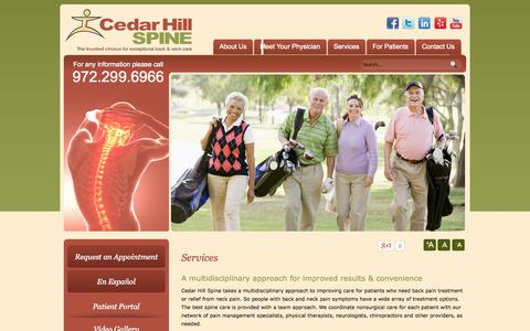 Screenshot of Services Page cedarhillspine.com - Spinal Stenosis TX, Neck Pain Relief Cedar Hill, Shoulder and Neck Pain, Epidural Injections Dallas - captured Sept. 29, 2014