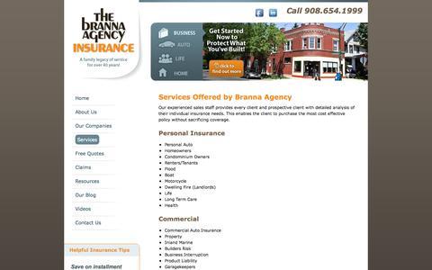 Screenshot of Services Page brannaagency.com - Services Offered by Branna Agency //  The Branna Agency, New Jersey Insurance Resource - captured Oct. 7, 2014