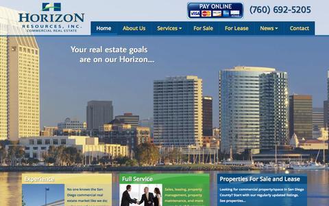 Screenshot of Home Page horizonresourcesinc.com - commercial real estate - captured Sept. 30, 2014