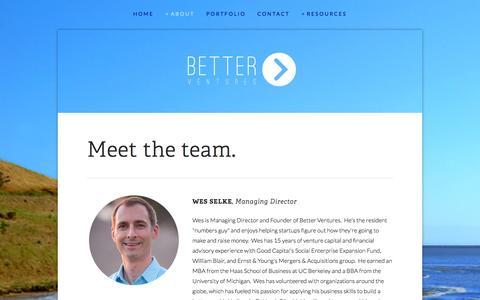 Screenshot of Team Page better.vc - Better Ventures | technology for good | Wes Selke | Rick Moss — Better Ventures - captured Sept. 19, 2014