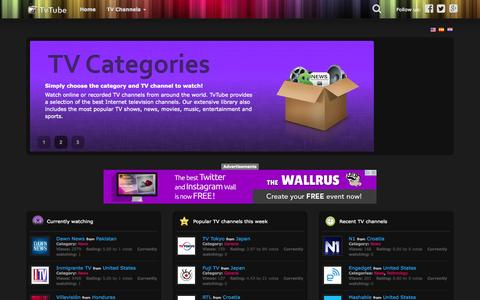 Screenshot of Home Page tv-tube.org - TvTube - TV channels on the Internet, live or video clips, on any device, anywhere - captured June 18, 2015
