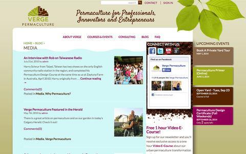 Screenshot of Press Page vergepermaculture.ca - Media Archives | Verge Permaculture - captured Sept. 23, 2014