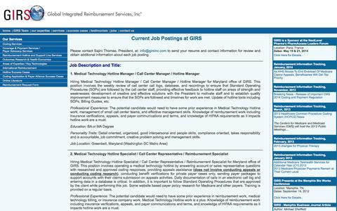 Screenshot of Jobs Page girsinc.com - Job Postings - Global Integrated Reimbursement Services Inc. - captured Oct. 3, 2014