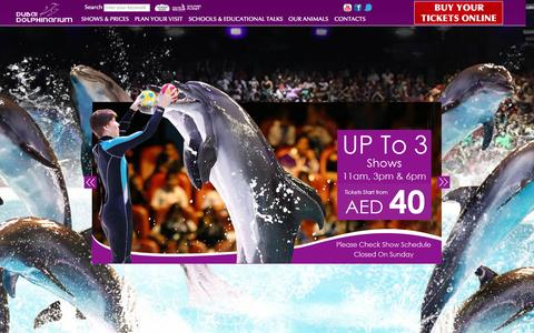 Screenshot of Home Page dubaidolphinarium.ae - Dubai Dolphinarium - Dolphin Shows - Seal Shows - Exotic Bird Shows - captured Nov. 10, 2015