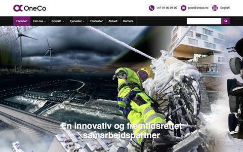Screenshot of Home Page oneco.no - OneCo - captured Sept. 21, 2018