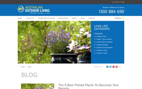 Screenshot of Blog australianoutdoorliving.com.au - Blog | Love Life Outdoors - Australian Outdoor Living - captured Sept. 30, 2014