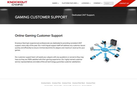 Screenshot of Support Page knockoutgaming.com - Online Gaming Customer Support - captured Aug. 9, 2016