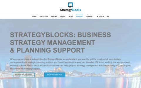 Screenshot of Support Page strategyblocks.com - Support - Strategyblocks - help and user guides - captured Dec. 16, 2016
