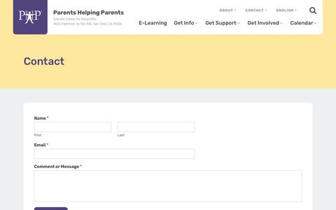 Screenshot of Contact Page php.com - Contact - Parents Helping Parents : Parents Helping Parents - captured Aug. 2, 2018