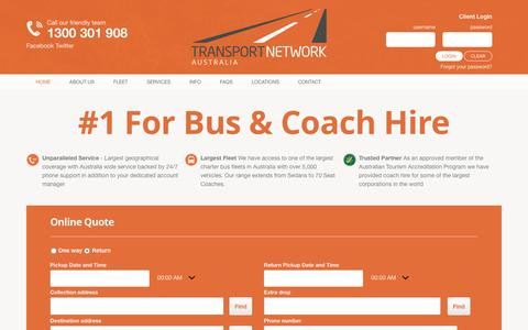 Screenshot of Home Page Locations Page transportnetworkaustralia.com.au - Bus Charter Australia - Coach Hire & Coach Charter - captured Jan. 18, 2016