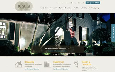 Screenshot of Home Page inaray.com - Outdoor Lighting Installation & Design in Richmond, VA | Inaray Outdoor Lighting - captured Sept. 22, 2014