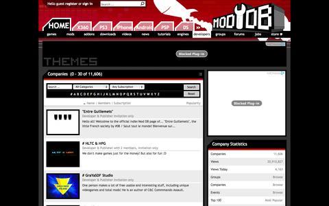 Screenshot of Developers Page moddb.com - Companies - Mod DB - captured Oct. 30, 2014