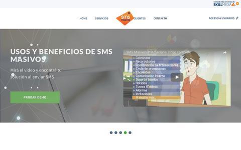 Screenshot of Home Page smsmasivos.com.ar - Envio de SMS Masivos Personalizados - Marketing Movil por SMS - Enviar mensajes de texto - captured May 26, 2017