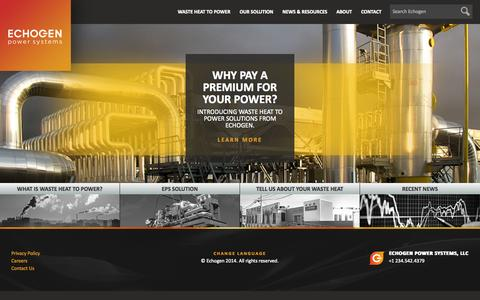 Screenshot of Home Page echogen.com - Waste Heat Recovery Power Generation | Echogen Power Systems - captured Oct. 1, 2014