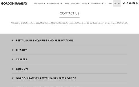 Screenshot of Contact Page gordonramsay.com - Contact & Enquiries | Gordon Ramsay Group - captured Nov. 11, 2018