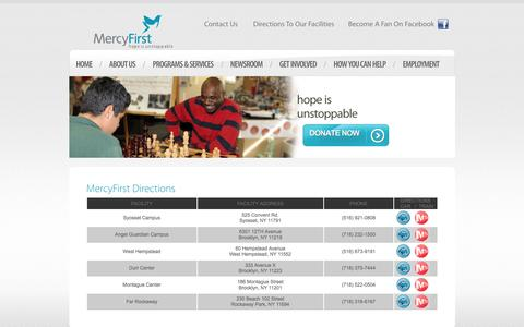 Screenshot of Maps & Directions Page mercyfirst.org - MercyFirst Directions - captured Jan. 10, 2016