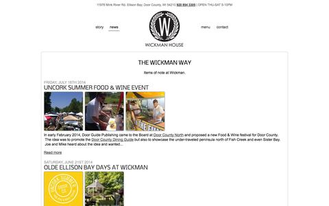 Screenshot of Blog Press Page wickmanhouse.com - Wickman House Restaurant | Ellison Bay, Door County | Come experience a new standard in casual dining - captured Oct. 25, 2014