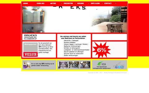 Screenshot of Home Page broeksklusbedrijf.nl - Start met Broeks Montage & Klusbedrijf - captured Oct. 5, 2014