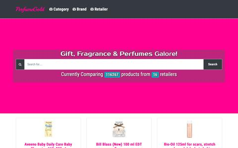 Screenshot of Home Page perfumegold.co.uk - PerfumeGold UK - captured Sept. 27, 2018