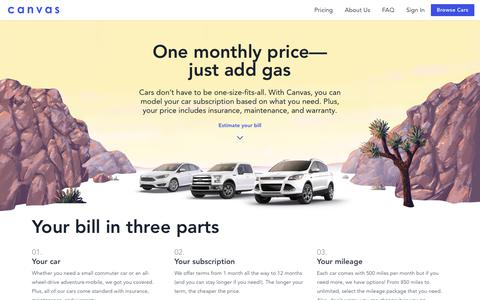 Screenshot of Pricing Page joinbreeze.com - Canvas - A simple alternative to car ownership - captured June 20, 2018
