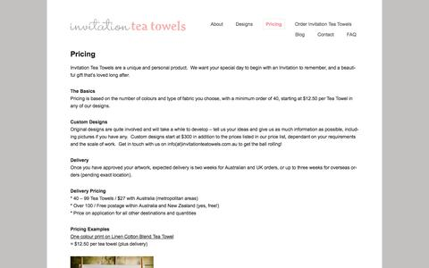 Screenshot of Pricing Page invitationteatowels.com.au - Pricing | Invitation Tea Towels - captured Sept. 30, 2014