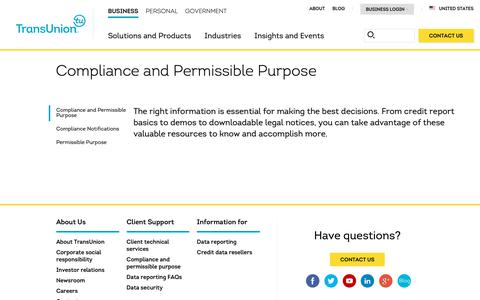 Screenshot of Support Page transunion.com - Compliance and Permissible Purpose | Client Supoort | TransUnion - captured Oct. 24, 2018