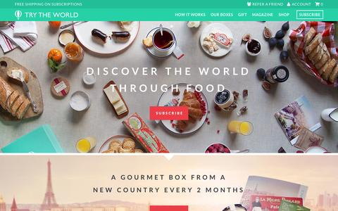 Screenshot of Home Page trytheworld.com - Try The World | Food subscription box from around the world - captured Aug. 4, 2015