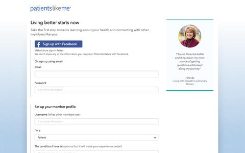 Screenshot of Signup Page patientslikeme.com - Join PatientsLikeMe   PatientsLikeMe - captured May 9, 2017