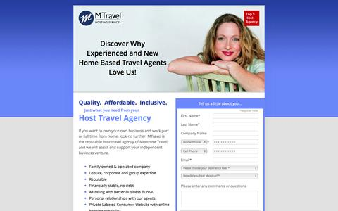 Screenshot of Landing Page mtravel.com - Host Travel Agency - captured April 16, 2016