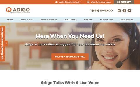 Screenshot of Support Page adigo.com - Conference Customer Service Support   Adigo - captured May 29, 2017