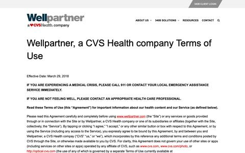Screenshot of Terms Page wellpartner.com - Terms of Use – Wellpartner, Inc. - captured Oct. 18, 2018