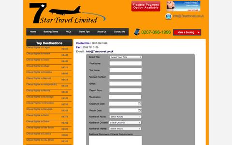 Screenshot of Contact Page 7startravel.co.uk - Contact Us - captured Oct. 27, 2014