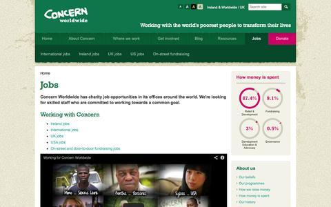 Screenshot of Jobs Page concern.net - Charity Jobs UK/Abroad - International Charity Jobs - Concern Worldwide - captured Sept. 23, 2014