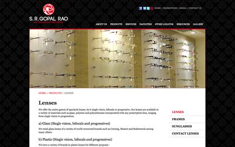 Screenshot of Products Page srgopalrao.com - Widest range of lense brands in Bangalore - captured Oct. 3, 2014