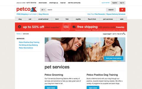 Screenshot of Services Page petco.com - Services | petco.com - captured July 3, 2016
