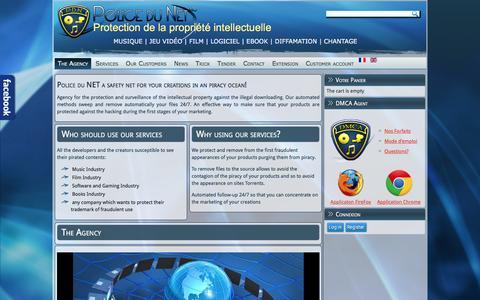 Screenshot of policedunet.com - The Agency - Police du Net | Protection du droit d'auteur pour contenus num�riques | Films | Musiques | Logiciels | Livres | - captured Dec. 10, 2015