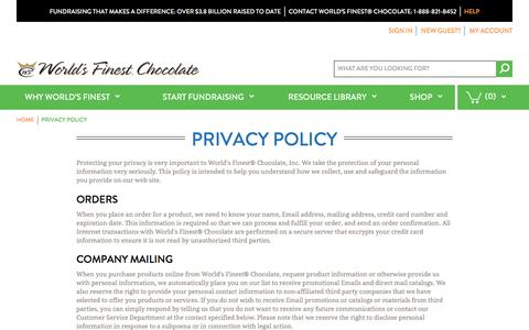 Screenshot of Privacy Page worldsfinestchocolate.com - World's Finest Chocolate Fundraising |  Privacy Policy - captured Nov. 19, 2016