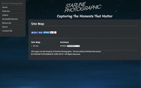 Screenshot of Site Map Page starlinephoto.com - Site Map | Starline Photographic - captured Dec. 16, 2016