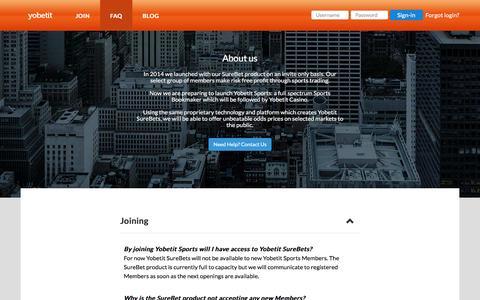 Screenshot of FAQ Page yobetit.com - Yobetit   SureBets and Sports Bookmaker - captured Jan. 12, 2016
