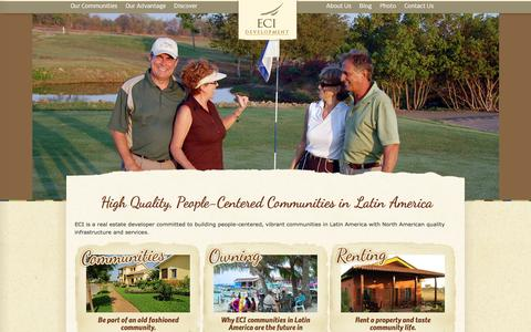 Screenshot of Home Page ecidevelopment.com - Latin America Real Estate Ownership and Lifestyles - captured Jan. 22, 2016