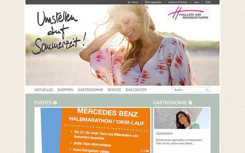 Screenshot of Home Page hallenamborsigturm.de - Erlebnis-Shopping pur! | Hallen am Borsigturm, Berlin - captured June 9, 2016
