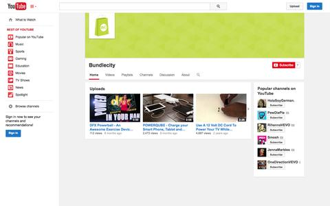 Screenshot of YouTube Page youtube.com - Bundlecity  - YouTube - captured Oct. 23, 2014