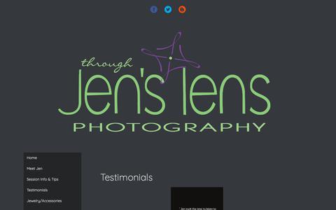 Screenshot of Testimonials Page throughjenslens.com - Testimonials - throughjenslens - captured Nov. 16, 2018