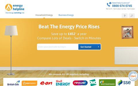 Screenshot of Home Page energyhelpline.com - Energy Comparison: Switch Your Electricity & Gas | energyhelpline - captured Nov. 16, 2019