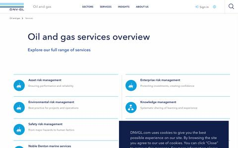 Screenshot of Services Page dnvgl.com - Services provided by DNV GL to the oil and gas sector - DNV GL - captured Dec. 7, 2019