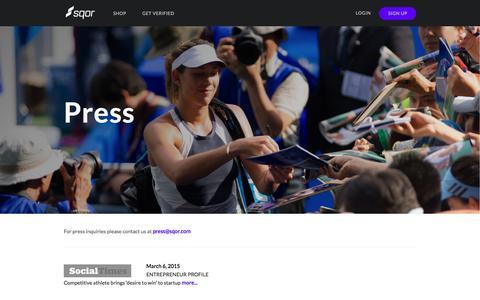 Screenshot of Press Page sqor.com - Sqor - captured June 25, 2017