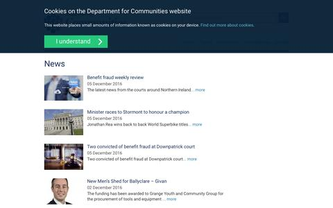 Screenshot of Press Page communities-ni.gov.uk - News | Communities - captured Dec. 5, 2016