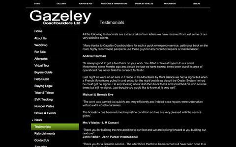 Screenshot of Testimonials Page gazeleycoachbuilders.co.uk - Testimonials - captured Oct. 2, 2014