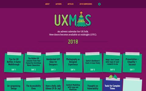 Screenshot of Home Page uxmas.com - UXmas | An advent calendar for UX folk - captured Dec. 13, 2018