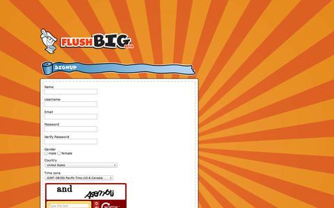 Screenshot of Signup Page flushbig.com - FLUSHBIG: Register - captured Oct. 6, 2014